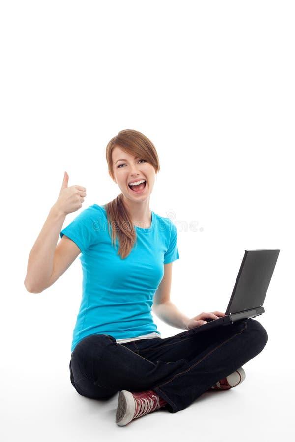 成功膝上型计算机的学员 免版税库存照片