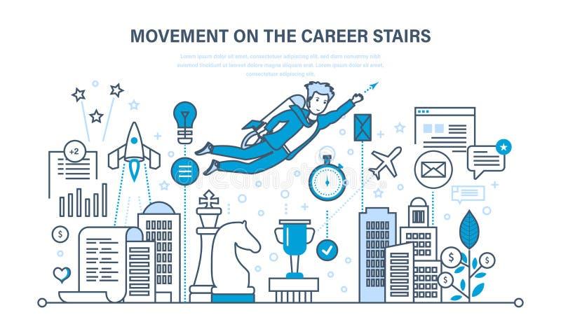 成功进入工作,改善个人和专业质量,事业成长 向量例证