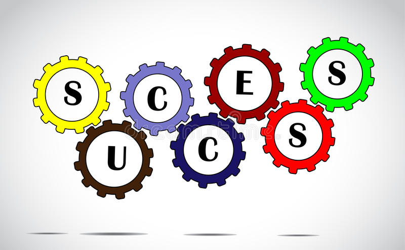 成功队工作成就使用五颜六色的齿轮的进展概念有文本的 库存例证