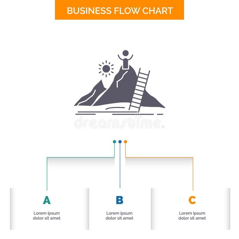 成功,个人,发展,领导,事业企业与3步的流程图设计 r 皇族释放例证