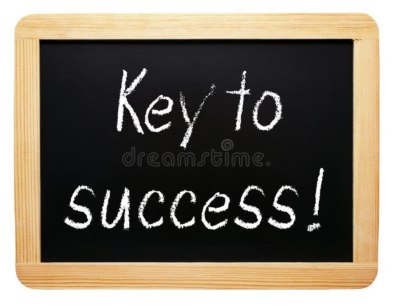 成功-在黑板的手写的文本的钥匙 免版税库存图片