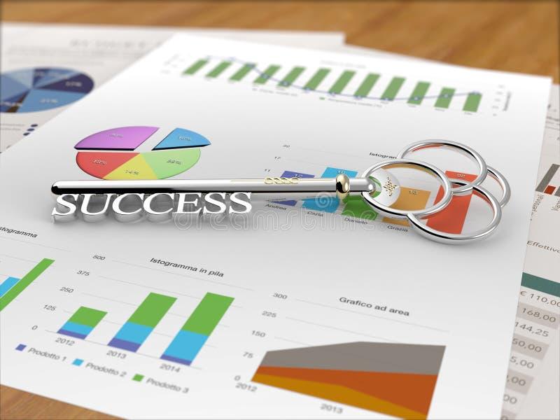 成功-财政报告木头的钥匙 免版税库存照片