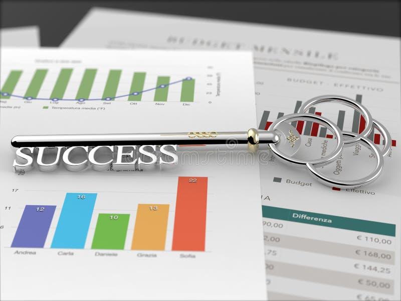 成功-财政报告黑色的钥匙 免版税库存图片