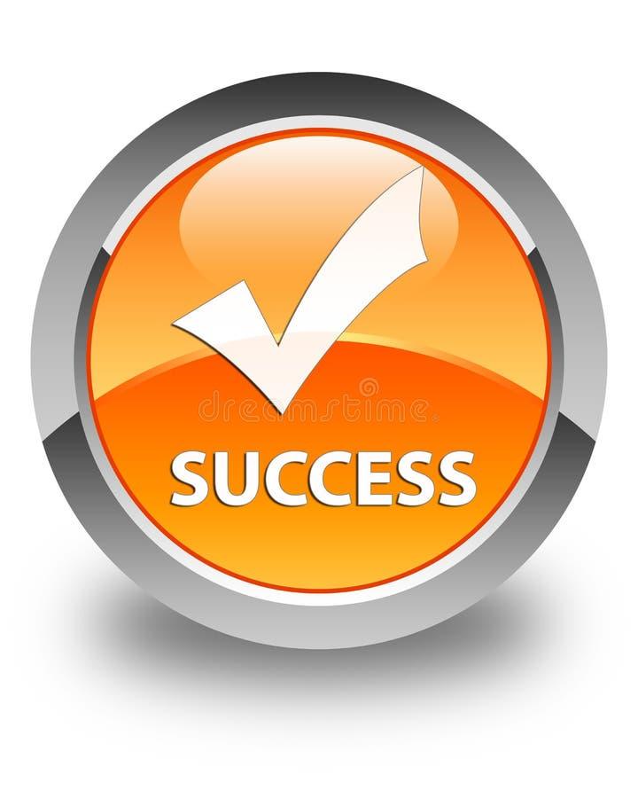 成功(确认象)光滑的橙色圆的按钮 库存例证