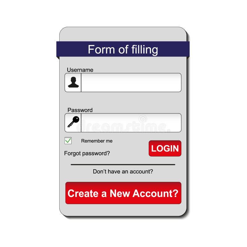 成员注册形式接口 对网页,站点,流动应用,艺术例证,设计题材,现代菜单 皇族释放例证