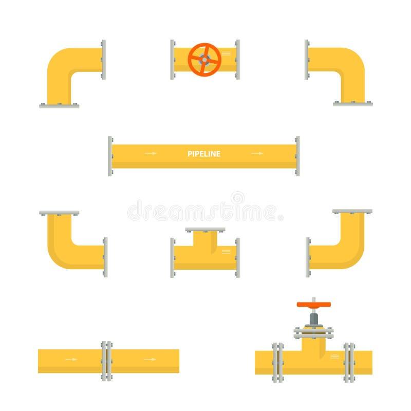 成套工具套管道 管道的被隔绝的黄色元素 天然气产业油 向量例证