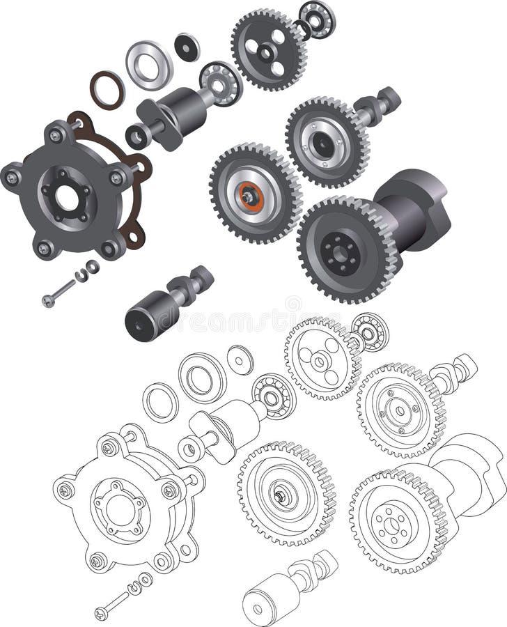 成套机制和齿轮 向量例证