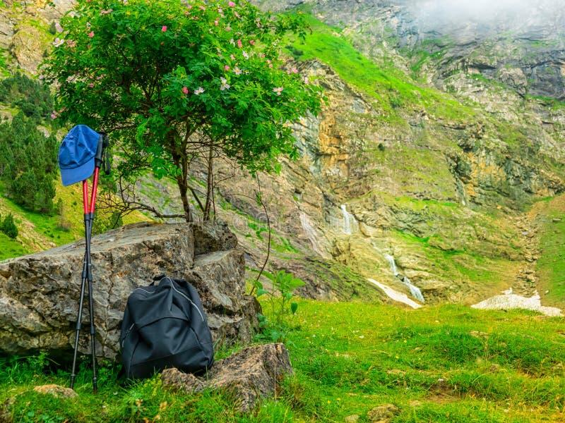 成套装备徒步旅行者 背包、拐杖和游人的盖帽在山在止步不前在树下 免版税库存图片