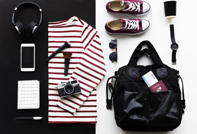 成套装备Flatlay旅行的 图库摄影