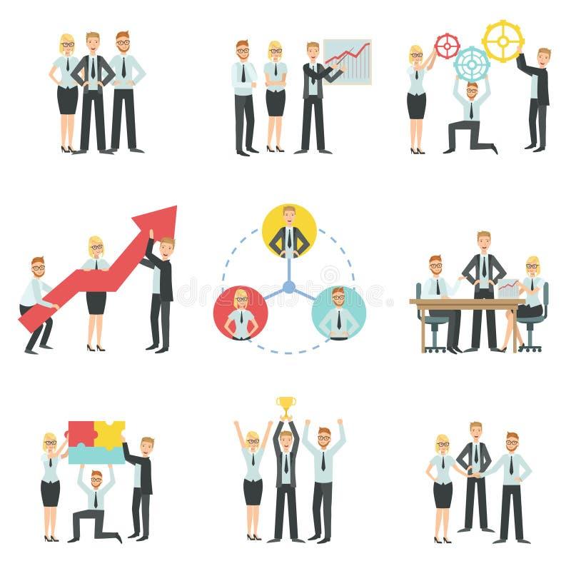 成就处理Infographic的企业队 向量例证
