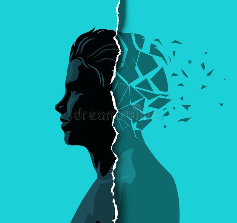 成年男性应付精神健康 向量例证
