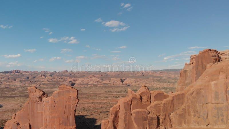 成拱形国家公园犹他 在日落的全景鸟瞰图 免版税图库摄影