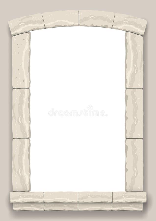 成拱形在灰棕色裁减石头墙壁  皇族释放例证