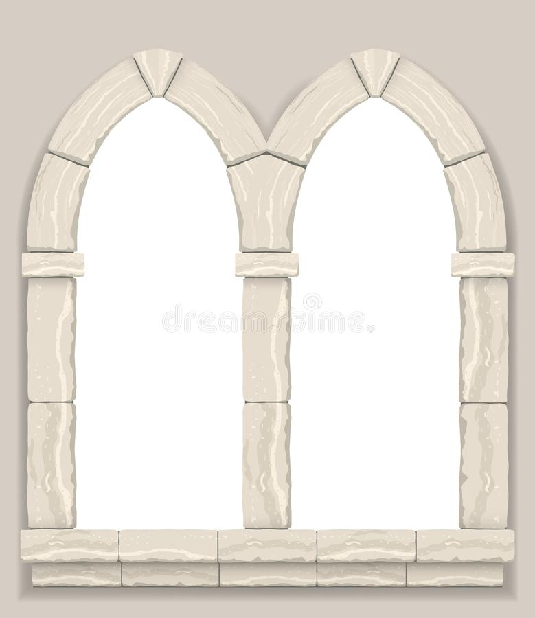 成拱形在灰棕色裁减石头墙壁  库存例证