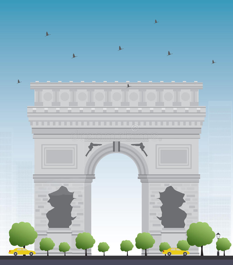 成拱形胜利 法国巴黎 皇族释放例证