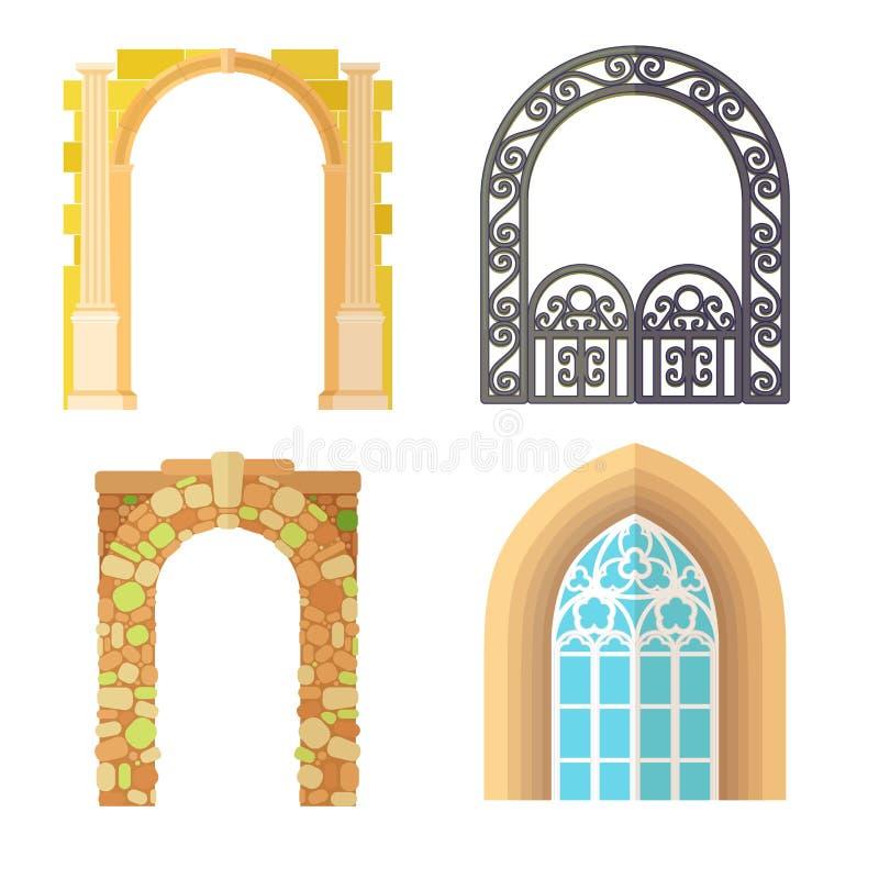 成拱形设计建筑学建筑框架经典之作,专栏结构门古老门的门面和门户修造 向量例证