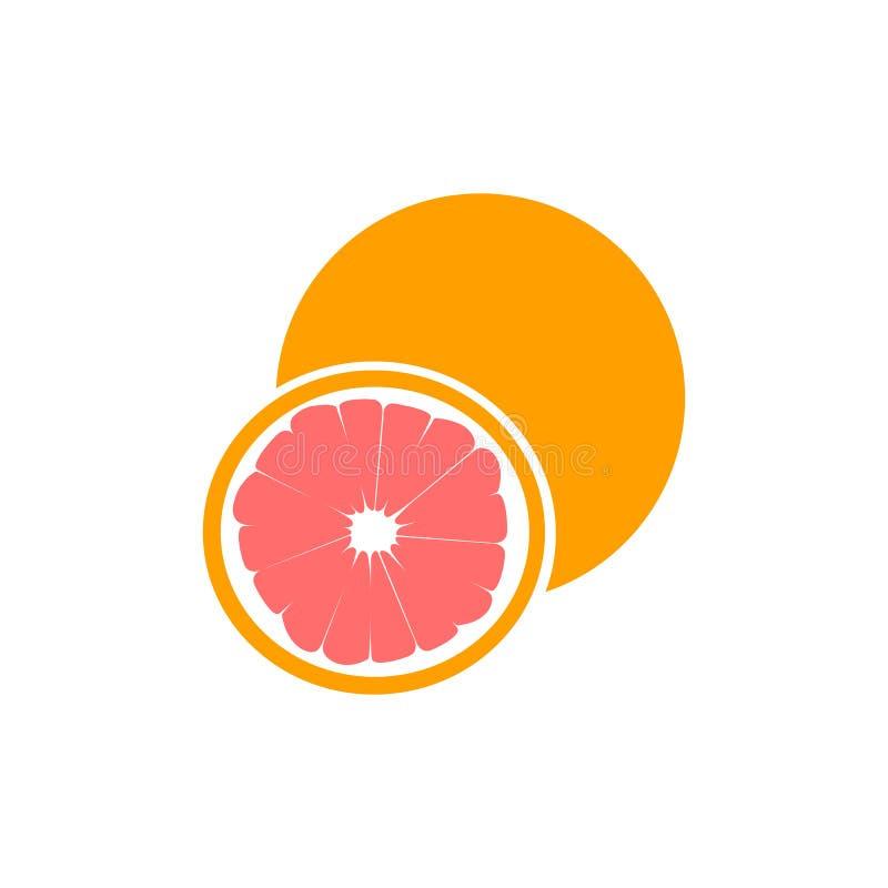 成熟一半粉红色葡萄柚在与裁减路线的白色背景隔绝的柑桔 向量例证