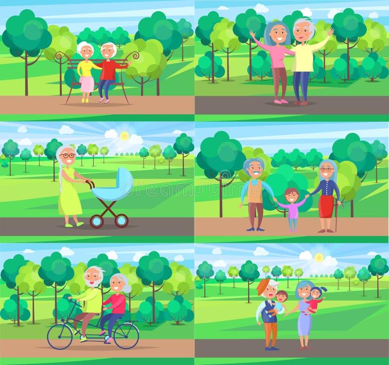 成熟人祖父母一起坐乘驾步行 库存例证