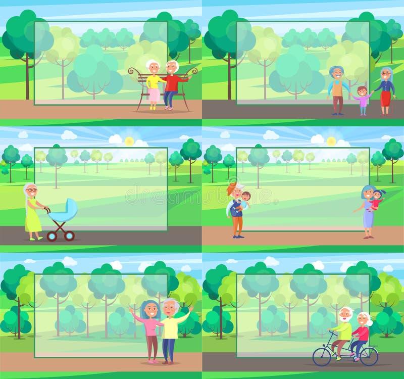 成熟人祖父母一起坐乘驾步行 向量例证