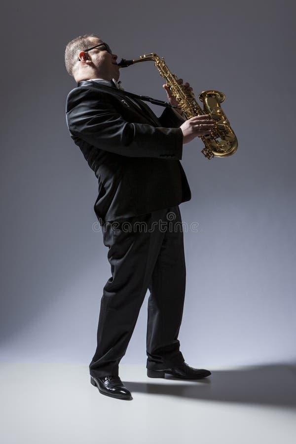 成熟传神白种人音乐家画象  免版税库存照片