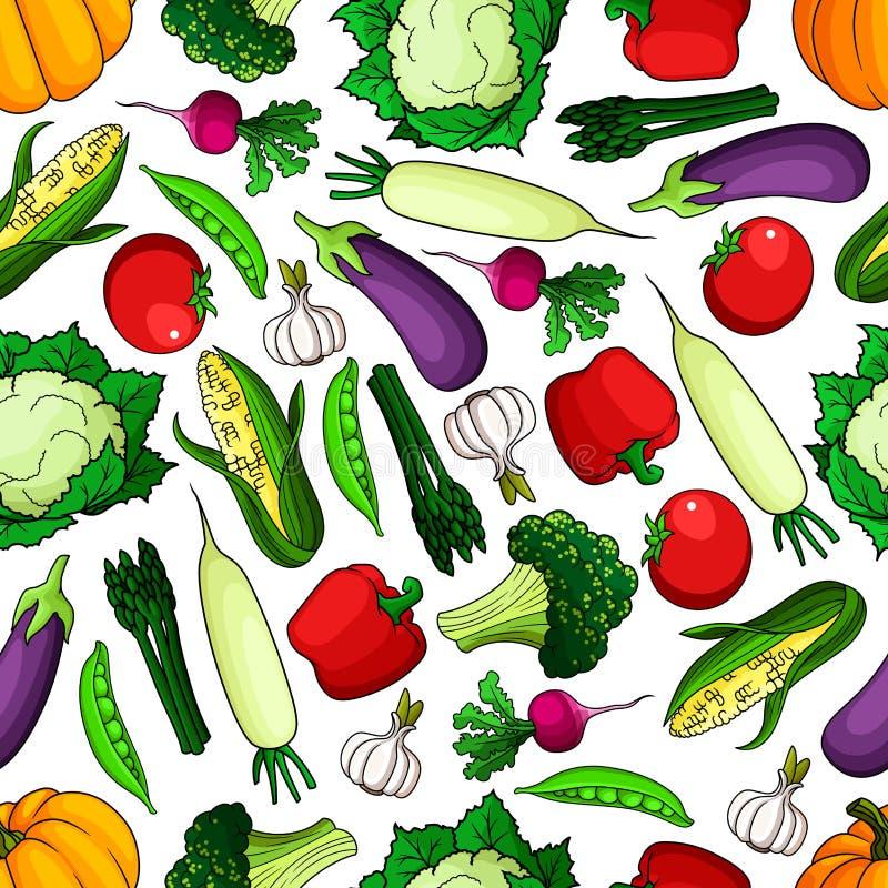 成熟和健康农厂菜无缝的样式 向量例证