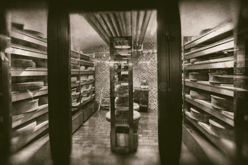 成熟在仓库牛奶店地窖-减速火箭的摄影里的乳酪大轮子 免版税库存照片