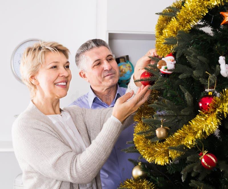 成熟夫妇装饰冷杉木假日圣诞节和Ne 库存图片