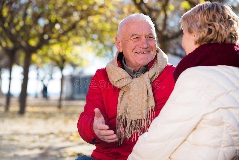 成熟夫妇谈话在公园 库存照片