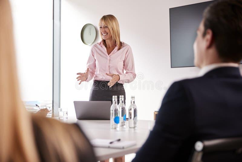 成熟女实业家对小组聚会演讲在表附近毕业生补充评估天 库存照片