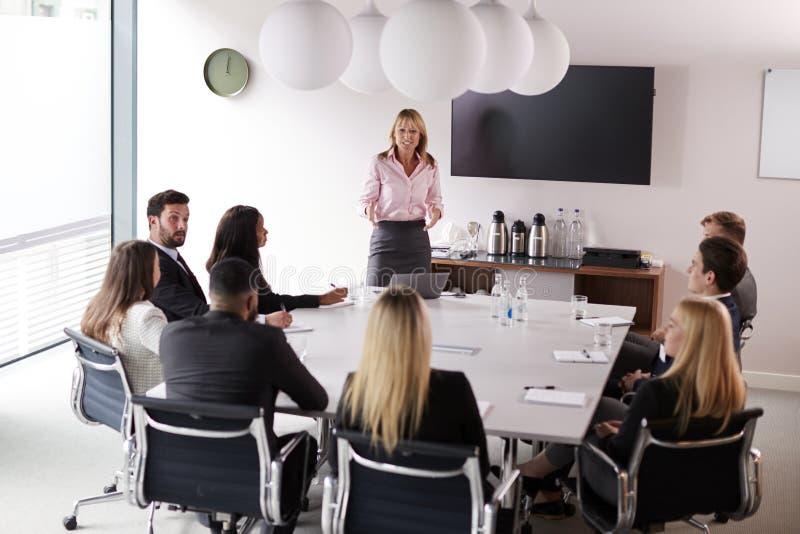 成熟女实业家对小组聚会演讲在表附近毕业生补充评估天 库存图片