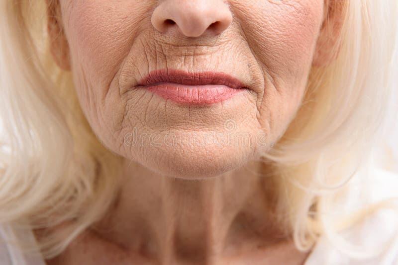 成熟妇女的犁的嘴唇 免版税库存图片
