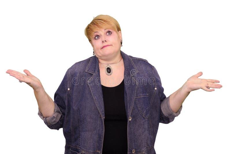 成熟妇女肢体语言-不要知道 库存图片