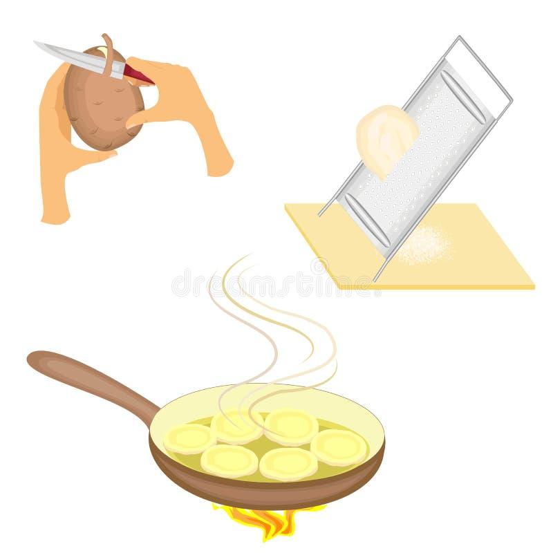 ?? 成熟新鲜的土豆清洗与刀子 抹在铁磨丝器的菜 好吃的准备, 向量例证