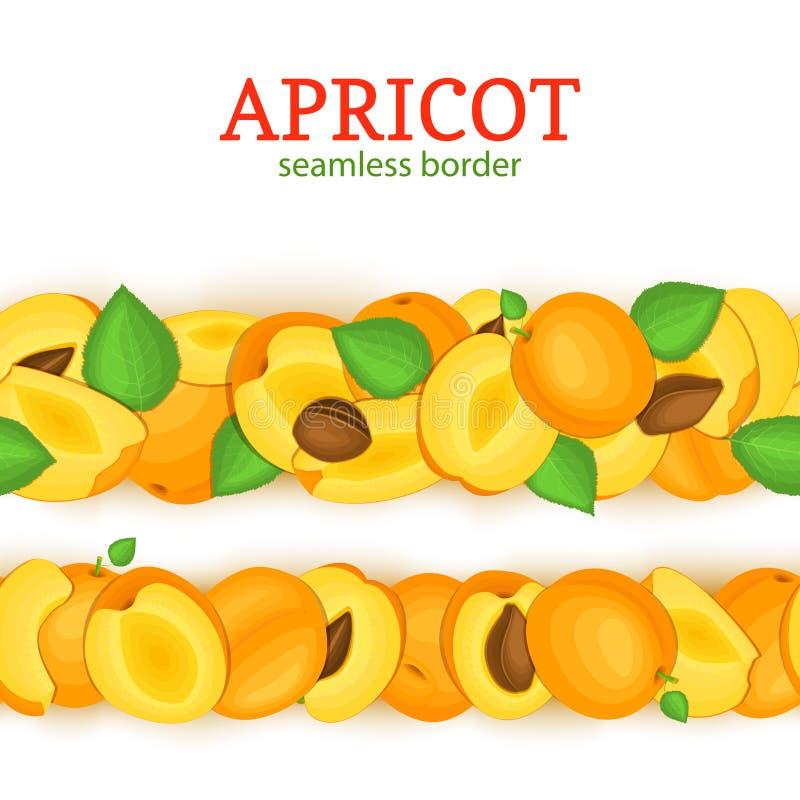 成熟杏子水平的无缝的边界 导航例证卡片宽和狭窄的不尽的小条Juisy杏子果子 库存例证