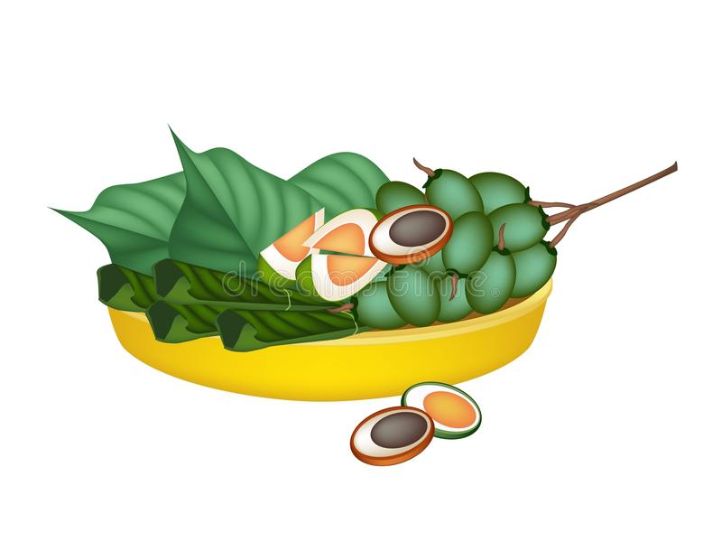 成熟槟榔和蒋酱之叶叶子在金盘子 皇族释放例证