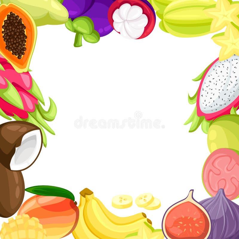 成熟热带水果和切片现实集合与芒果pitaya番木瓜椰子和passionfruit illustra的被隔绝的图象 向量例证