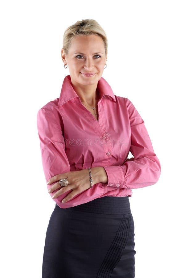 成熟的商业妇女 演播室射击,播种的中间大腿,隔绝在白色 图库摄影