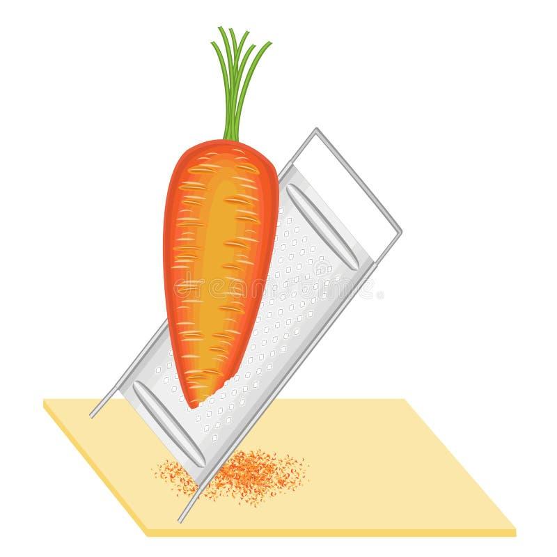 成熟美丽的红萝卜 磨碎在一台小磨丝器的菜 准备可口,健康,健康食品 ?? 向量例证