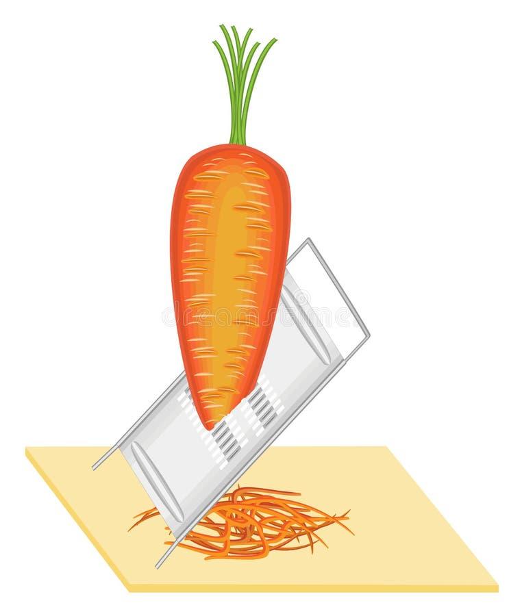 成熟美丽的红萝卜 磨碎菜 准备韩国红萝卜 健康可口,食物 r 库存例证