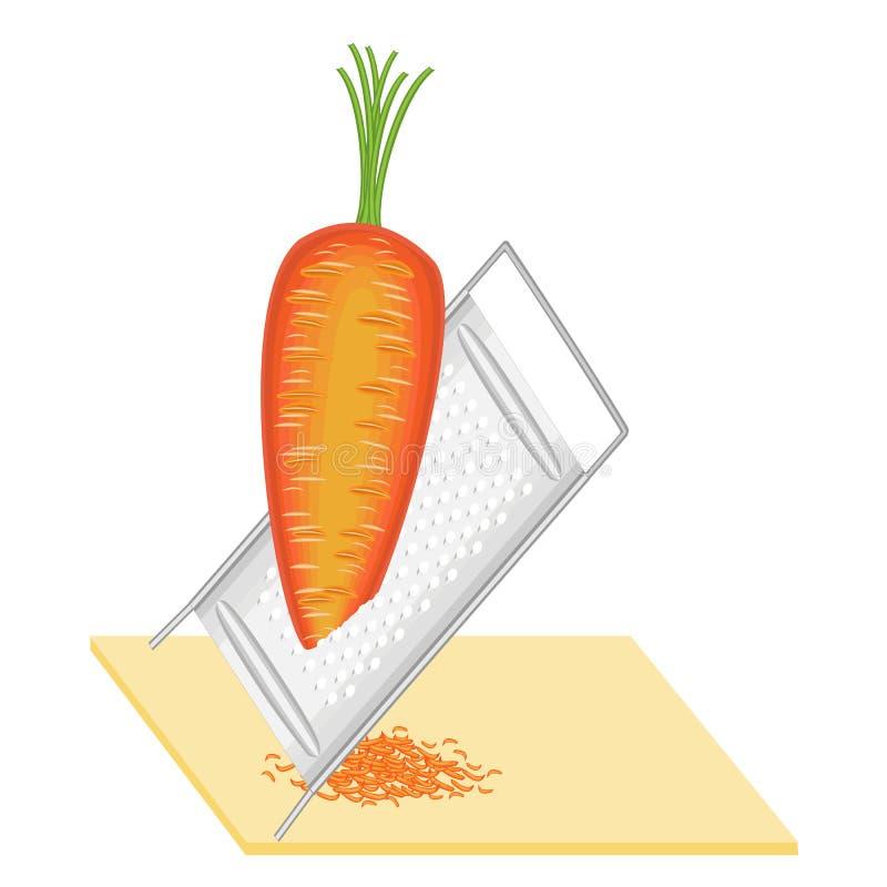 成熟美丽的红萝卜 菜在磨丝器磨碎 准备鲜美,健康,健康食品 r 皇族释放例证