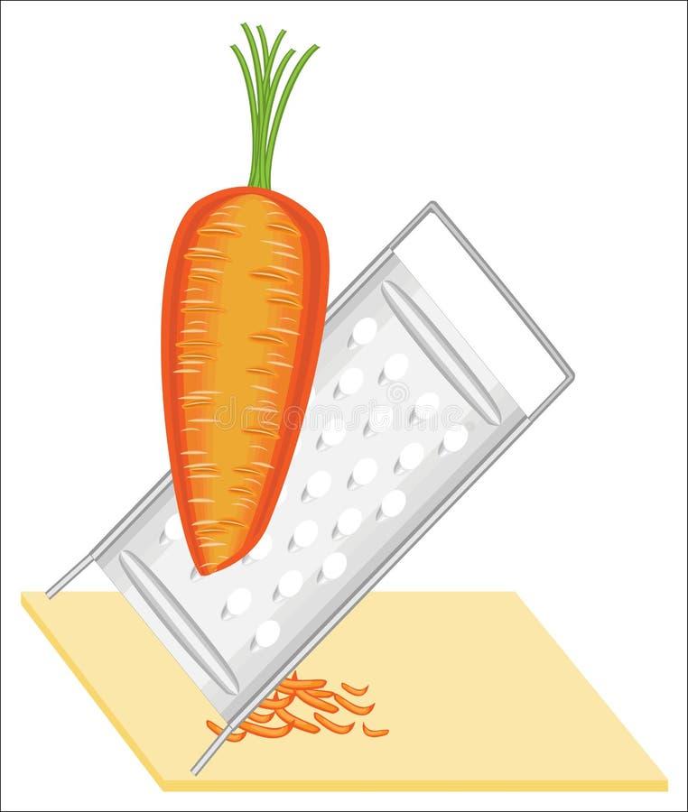 成熟美丽的红萝卜 菜在磨丝器磨碎 准备鲜美,健康,健康食品 r 库存例证
