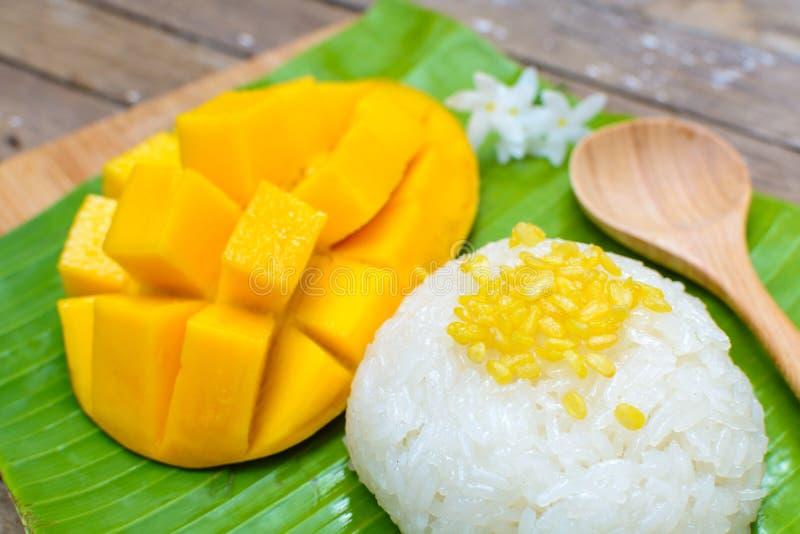 成熟芒果和黏米饭 库存图片