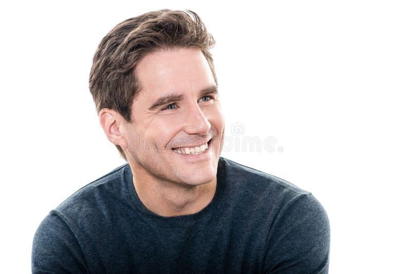 成熟英俊的人暴牙的微笑画象 免版税图库摄影