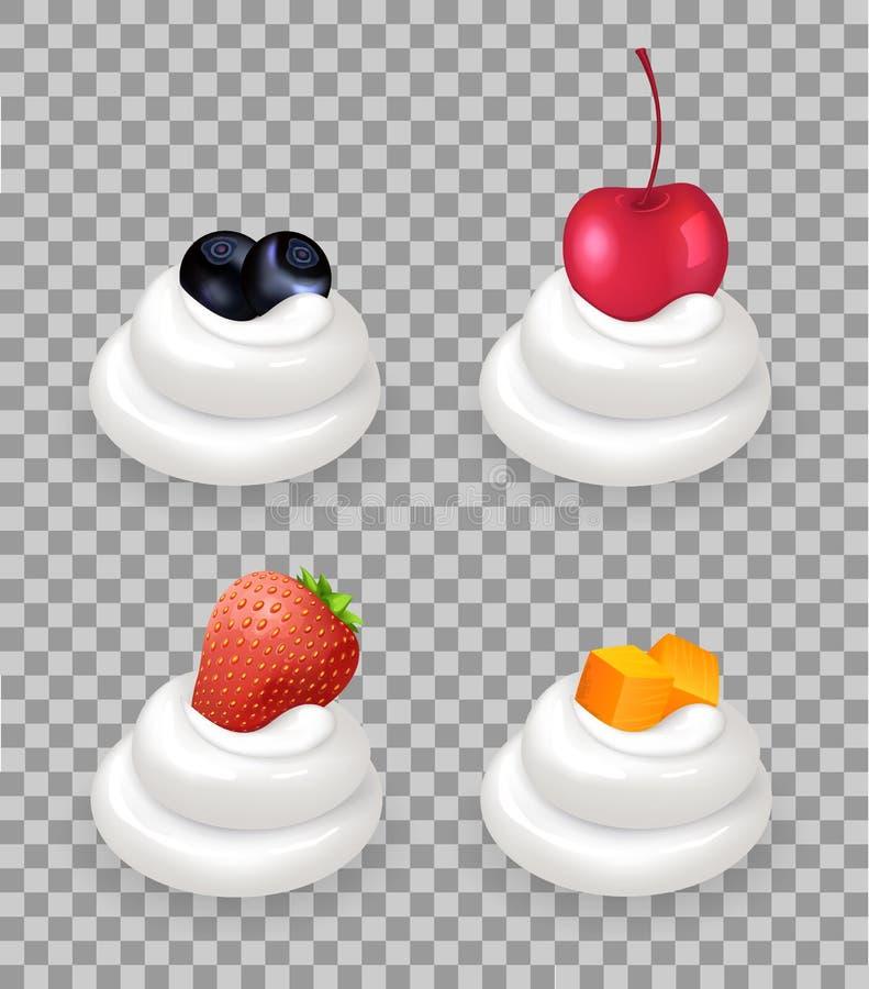 成熟莓果和果子立方体在打好的奶油 库存例证