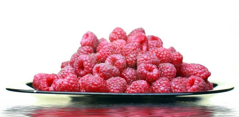 成熟莓特写镜头 在板材上是一个莓在背景中 库存图片
