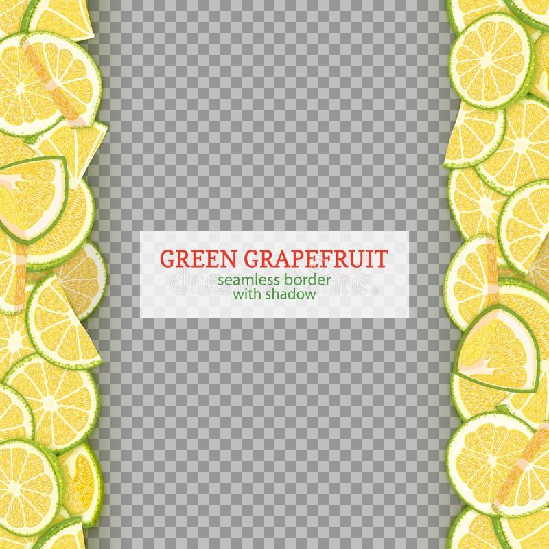 成熟葡萄柚果子垂直的无缝的边界 导航与绿色的例证卡片宽和狭窄的不尽的小条 库存例证