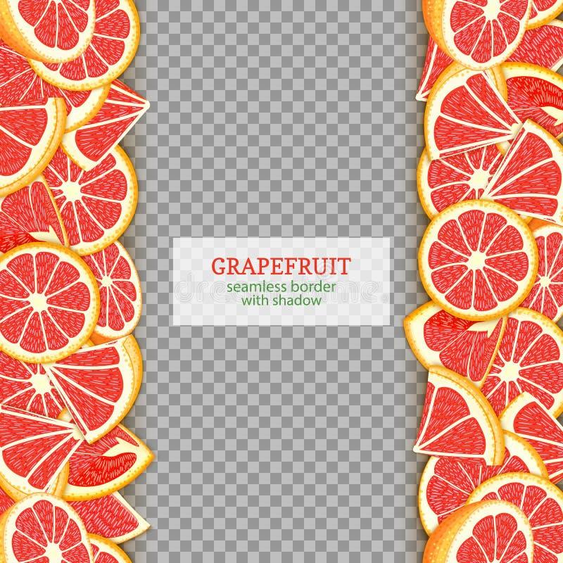 成熟葡萄柚果子垂直的无缝的边界 导航例证卡片宽和狭窄的不尽的小条用红色柚 皇族释放例证