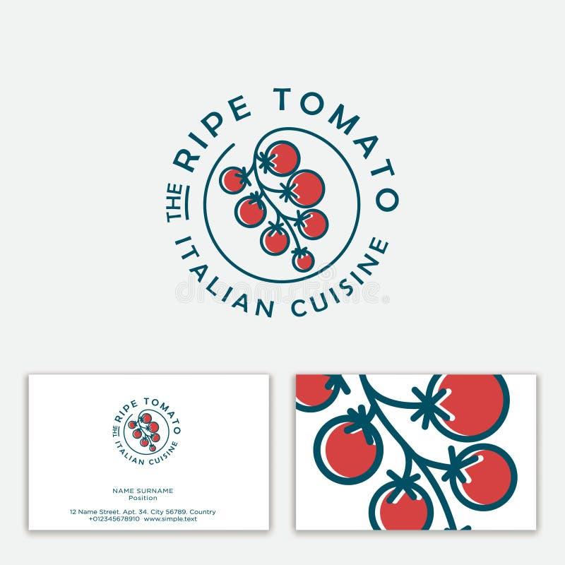 成熟蕃茄商标 意大利烹调象征 束在圈子的西红柿 向量例证