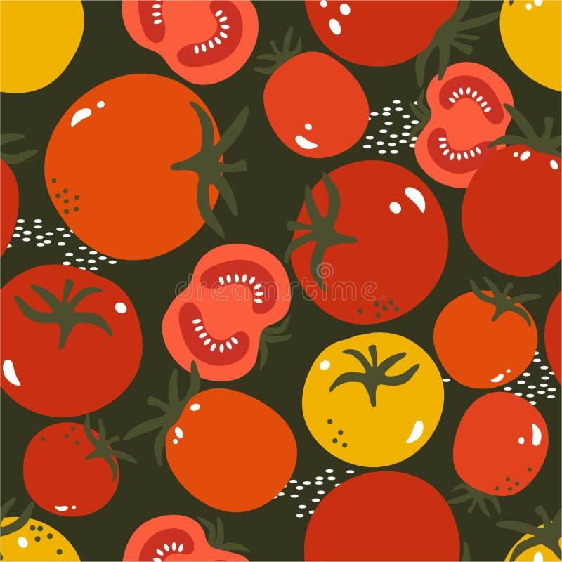 成熟蕃茄,五颜六色的无缝的样式 与新鲜蔬菜的装饰背景 向量例证