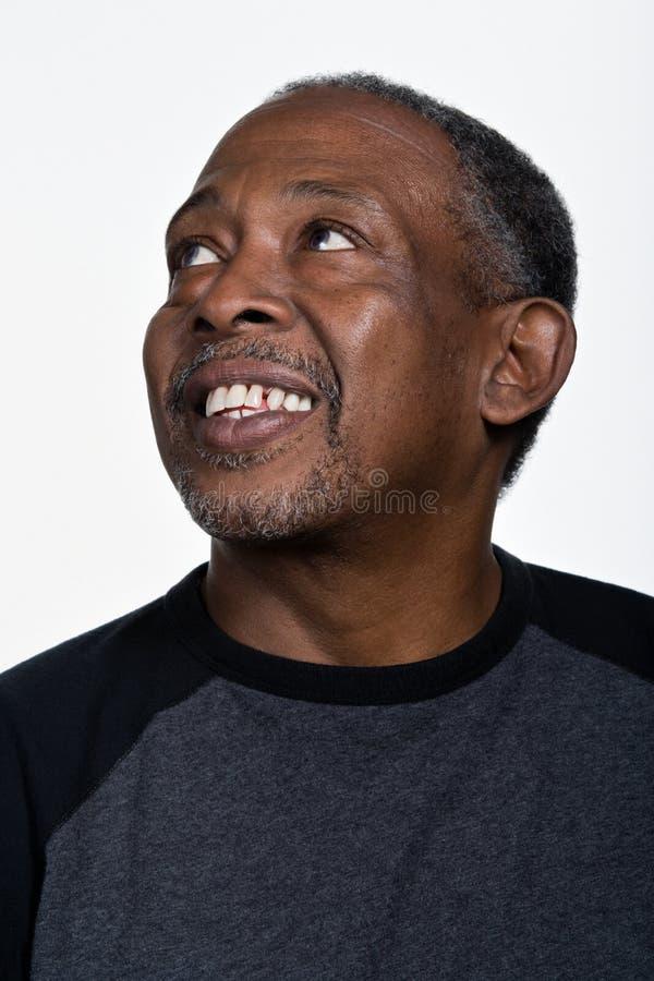 成熟非裔美国人的人画象  免版税库存照片
